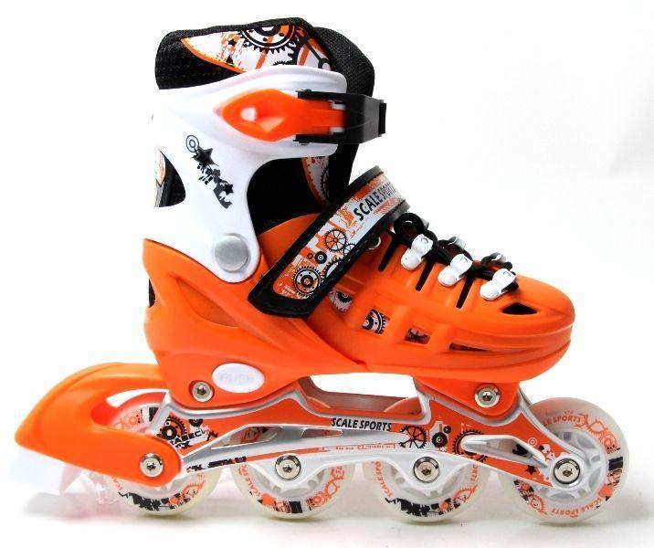 Раздвижные ролики 29-33 Scale Sports Orange с подсветкой переднего колеса