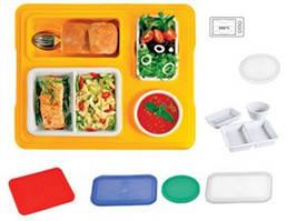 Термоподнос с замком и с комплектом посуды  (термостойкая порцеляновая посуда с крышкой) Menu Mobile (Termobox