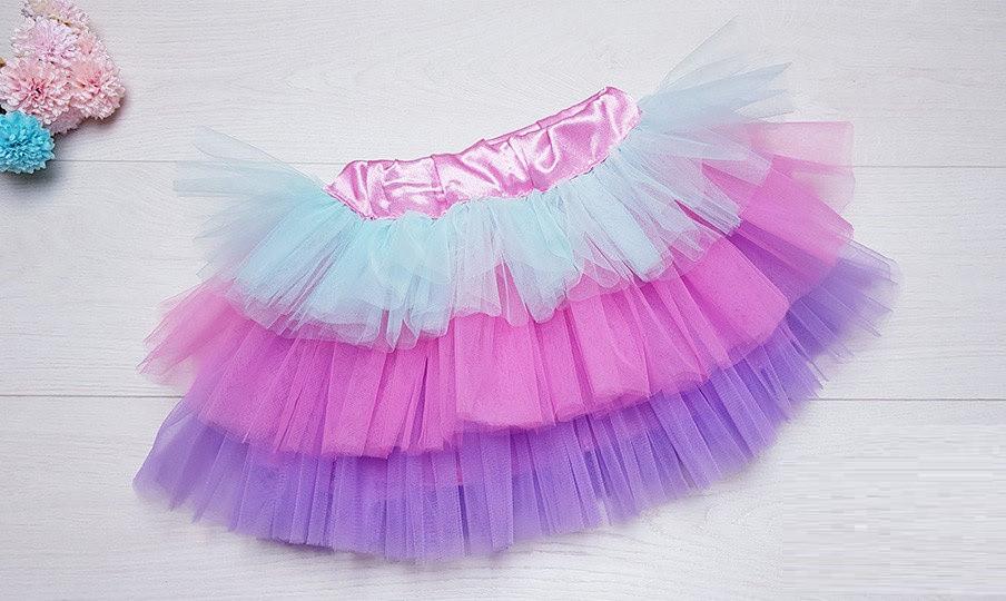 Пышная яркая фатиновая юбка с подкладкой  Единорожка
