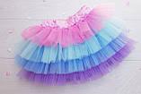 Пышная яркая фатиновая юбка с подкладкой  Единорожка, фото 3