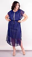 Платье летнее нарядное с шифоном большого размера Фея синий