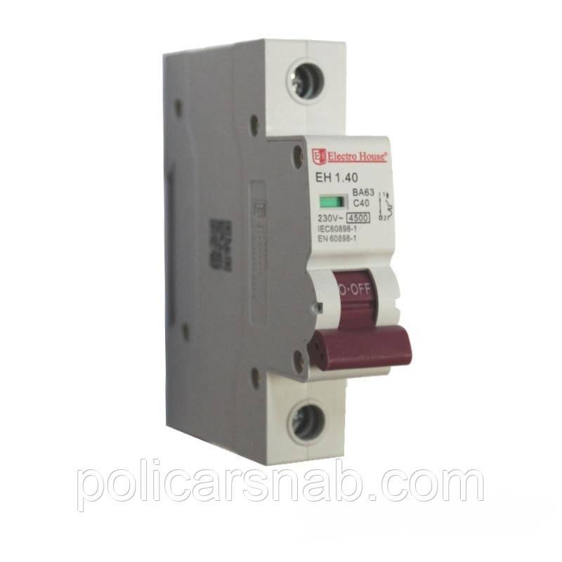 ElectroHouse Автоматический выключатель 1P 40A EH-1.40