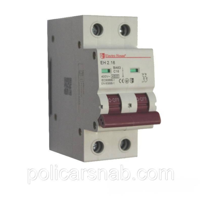 ElectroHouse Автоматичний вимикач 2P 16A EH-2.16