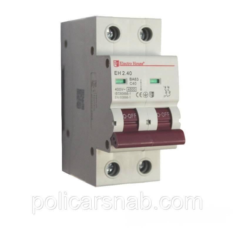 ElectroHouse Автоматический выключатель 2P 40A EH-2.40