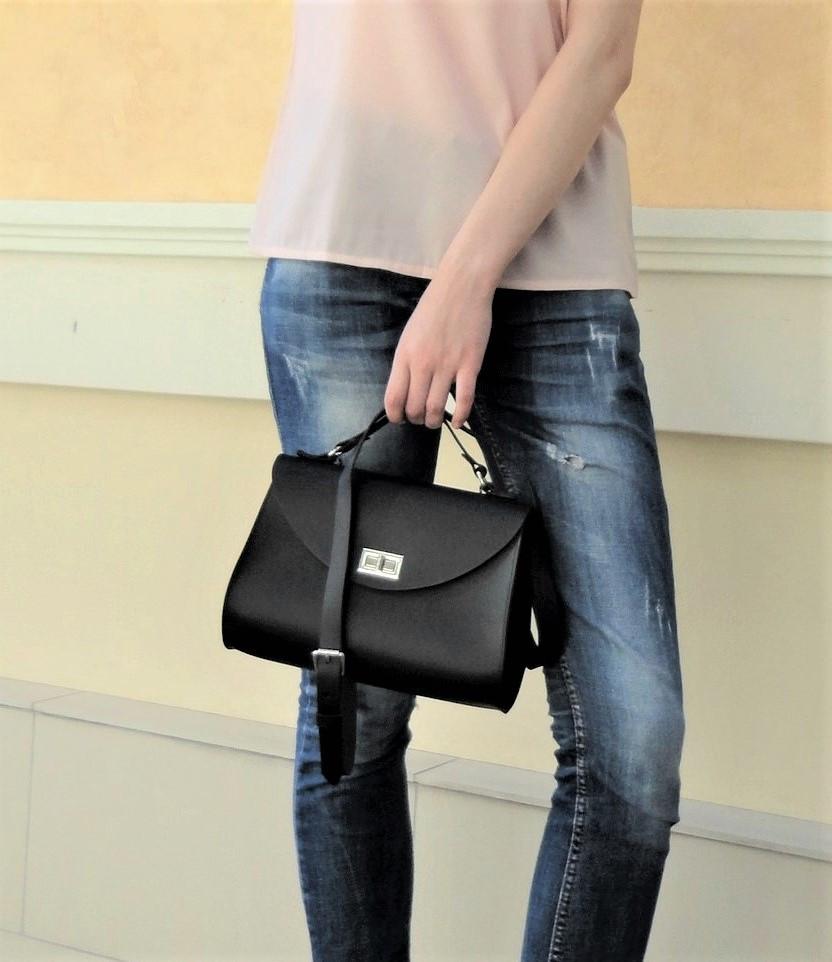 """Классическая женская сумка """"Black bag"""" из натуральной кожи"""