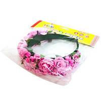 Цветочный обруч Розовые розы широкий Руди ОУ002у-2 (tsi_53696)