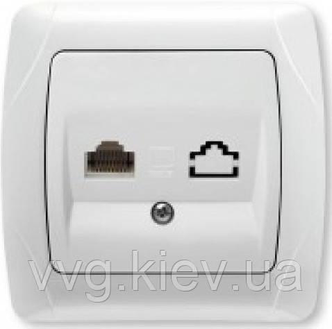 Розетка компьютерная одинарная (RJ45 Cat5e) белая VIKO Carmen ... e7ae835adea