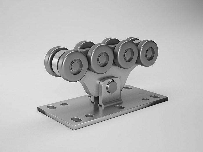 """Комплект """"MПЧ-1"""" (до 300 кг.)  с  неоцинкованной шиной,  пластик роликами"""