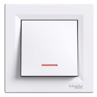 Выключатель одноклавишный с подсветкой  самозажимные контакты  ASFORA Schneider Electric Белый