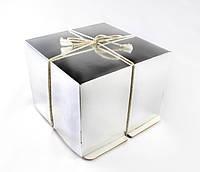 Коробка для торта, Серебро-Белая, 26х26х20 см