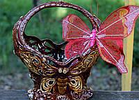 Керамическая корзинка с бабочкой