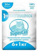 Наполнитель для туалета SUPER CAT стандарт, 6+1кг (синий)