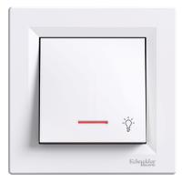 Кнопка «Лестница» с подсветкой  самозажимные контакты  ASFORA Schneider Electric Белый