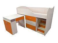 Детская двухъярусная кровать со столом Viorina-Deko Bed-room №5 Оранжевый 80х180 см