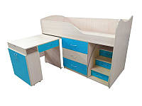 Детская двухъярусная кровать со столом Viorina-Deko Bed-room №5 Синий 80х180 см