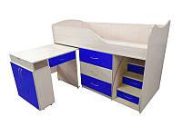 Детская двухъярусная кровать со столом Viorina-Deko Bed-room №5 Темно-синий 80х180 см