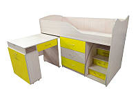 Детская двухъярусная кровать со столом Viorina-Deko Bed-room №5 Желтый 80х180 см