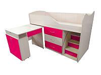 Детская двухъярусная кровать со столом Viorina-Deko Bed-room №5 Малиновый 80х180 см