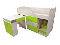 Детская двухъярусная кровать со столом Viorina-Deko Bed-room №5 Лайм 80х180 см