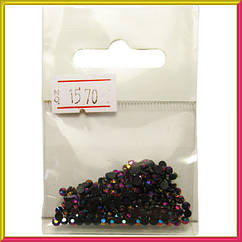 Камни СтразыАкриловые Черные с Розово-Фиолетовым Отливом для Ногтей в Наборе, размер 3 мм.