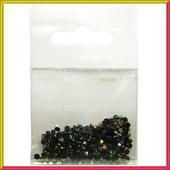 Камни Стразы Акриловые Черные с Золотисто-Желтым Отливом для Ногтей в Наборе, размер 3 мм.