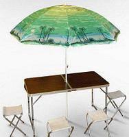 Раскладной стол 120 см - 60 см и стулья в чемоданчике и ЗОНТ и 4 стульчика