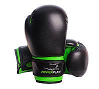 Боксерські рукавиці PowerPlay 3004 JR Чорно-Зелені 6 унцій - 143705