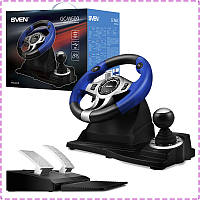 Игровой руль для ПК Sven GC-W600, руль с педалями и коробкой передач для компьютера