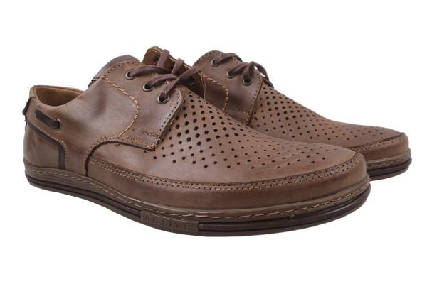 Туфли мужские комфортные Polbut натуральная кожа, цвет коричневый