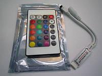 RGB контроллер с ИК пультом (24 кнопки) 12/24V; 2A/канал (мини корпус)