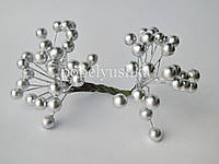 Ягоди глянцеві срібні 8 мм