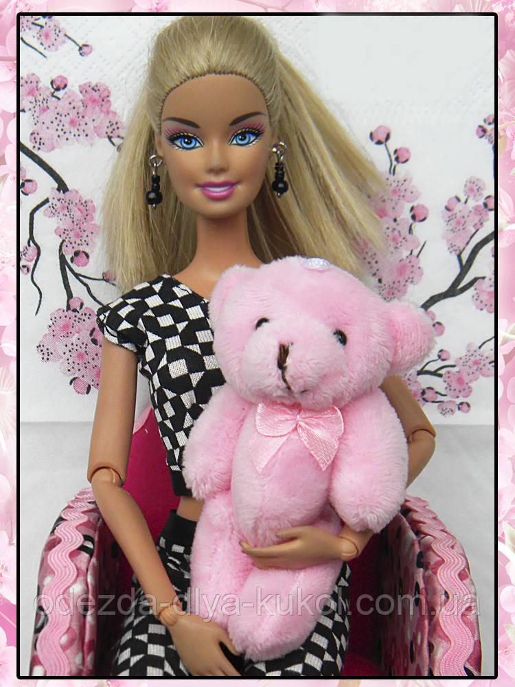 Мини плюшевый мишка - 8,5 см (розовый)
