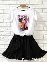 Женский летний яркий костюм юбка с футболкой с принтом
