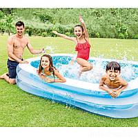 Детский надувной бассейн Intex 56483, синий «Морская волна», 262 х 175 х 56 см