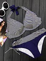 cea9f148ffd52 Раздельный купальник в полоску с твердой чашкой полосатый купальник синий  большой размер