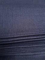 Льняная плотная скатертная ткань, чернильного цвета (шир. 150 см), фото 1