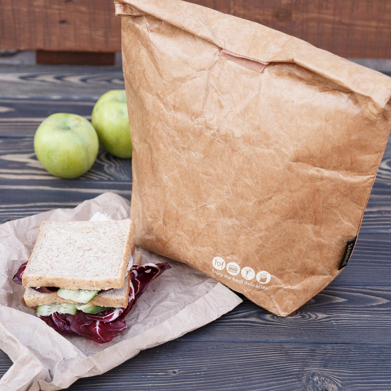 Ланч бэг (термосумка), сумка для ланча, сумка для еды, крафт сумка, крафт ланч бэг