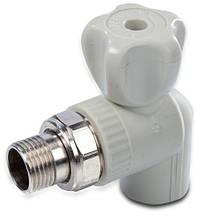 Кран для подключения радиатора угловой d 20