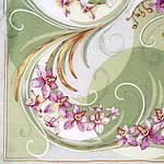 """Платок шелковый Павлопосадский (жаккард) """"Танцующие орхидеи"""" размер 84х84 см. рис.1444-4, фото 3"""