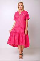 Женское, летнее, легкое, свободного кроя платье с заниженной талией. Большого размера р- 50, 52, 54, 56