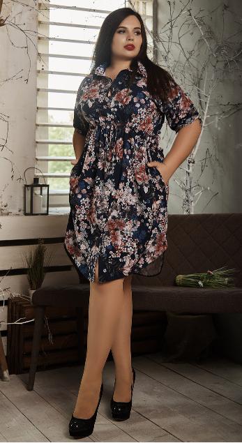 Платье- рубашка летнее большой размер  на синем фоне цветы