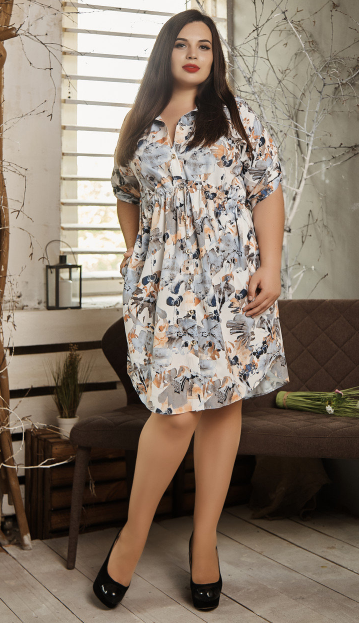 Платье- рубашка летнее большой размер серо-оранжевые цветы