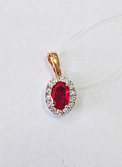 Подвеска золотая с бриллиантами и рубином П120-0024