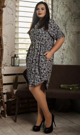 Платье- рубашка летнее большой размер белая розочка, фото 2
