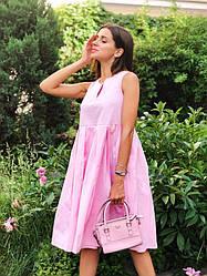 Женское летнее свободное платье без рукавов Розовый