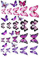 Съедобная печать на вафельной бумаге Бабочки (11)