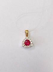 Подвеска золотая с бриллиантами  и рубином П120-0027