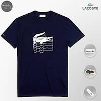 Мужская футболка модная Lacoste 3D navy (реплика)