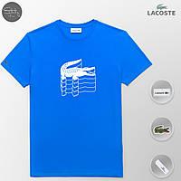 Мужская футболка модная Lacoste 3D blue (реплика)