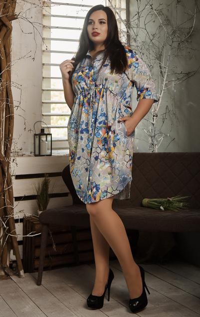 Платье- рубашка летнее большой размер серая мозаика
